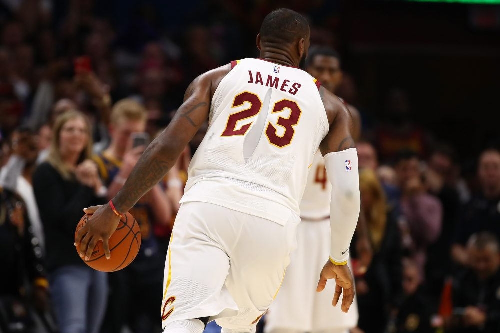 LeBron James played with a ripped jersey on Tuesday. (Gregory Shamus Getty  Images 759626007