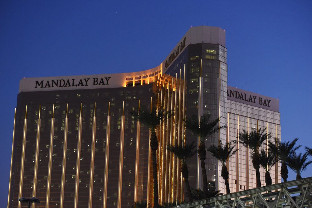 The Mandalay Bay Hotel and Casino is seen in the evening in thein Las Vegas, Nevada on Oct. 4, 2017. (Robyn Beck/AFP/Getty Images)