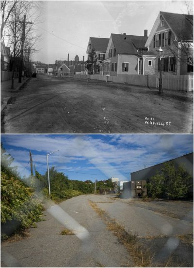 Click to enlarge: On the top, William Bullard's turn-of-the-century photograph of the wooden houses lining Winfield Street. On the bottom, Winfield Street today, fenced off. (Courtesy Frank Morrill and Jesse Costa/WBUR)