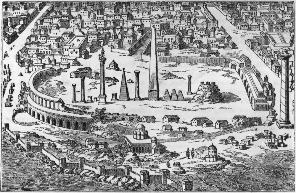 The Hippodrome in Constantinople was the largest chariot racing stadium in the Eastern Roman Empire and the site of the Nika Riots.  (Hulton Archive/Getty Images)