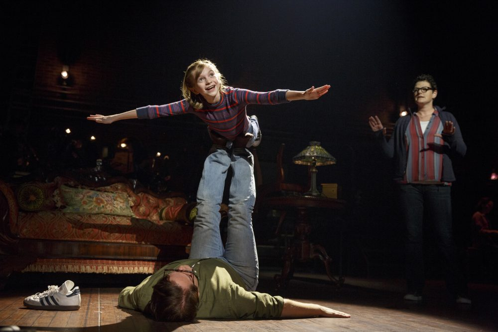 """Carly Gold as Small Alison, Robert Petkoff as Bruce and Kate Shindle as Alison in """"Fun Home."""" (Courtesy Joan Marcus/Broadway in Boston)"""