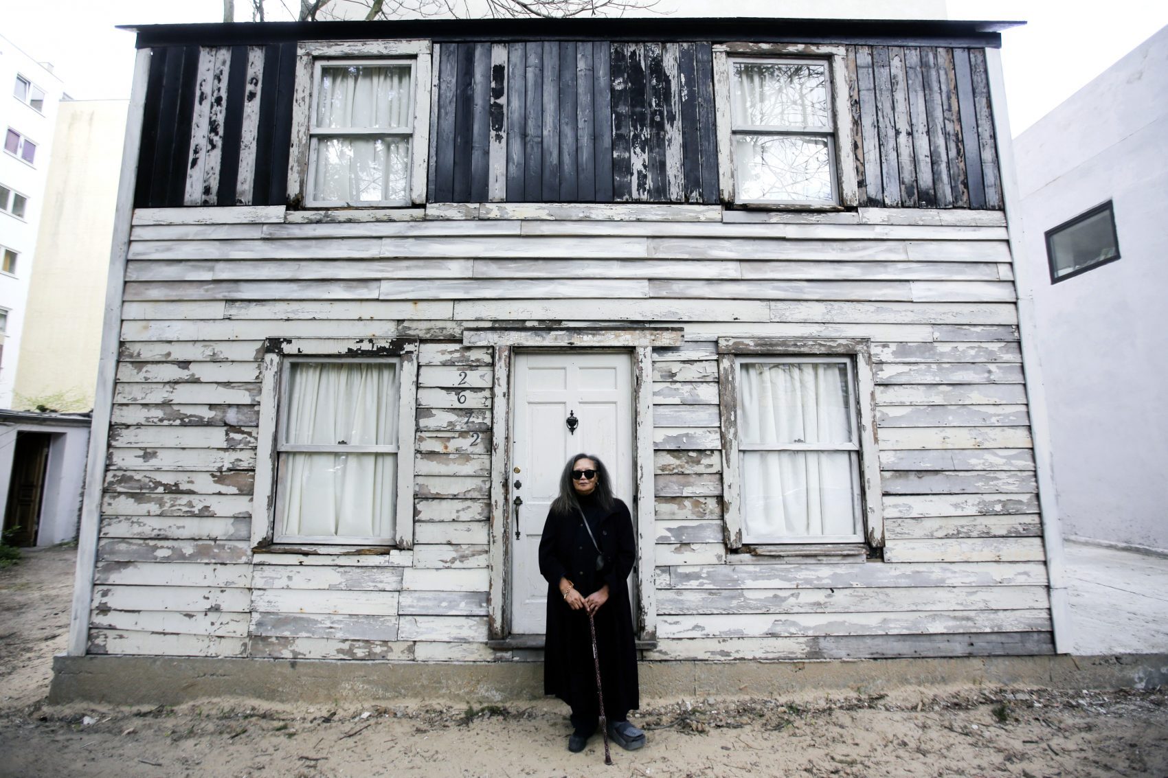 Rhea McCauley, a niece of the late civil rights activist Rosa Parks, poses in front of the rebuilt house of Rosa Parks in Berlin. (Markus Schreiberl/AP)