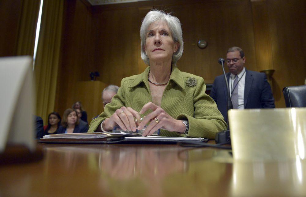 In this April 10, 2014 file photo, then-Health and Human Services Secretary Kathleen Sebelius listens while testifying on Capitol Hill in Washington. (Susan Walsh/AP)
