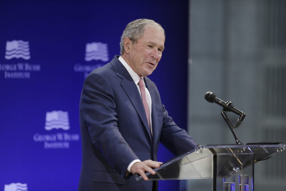 Former President George W. Bush speaks at a forum sponsored by the George W. Bush Institute in New York, Thursday, Oct. 19, 2017. (Seth Wenig/AP)