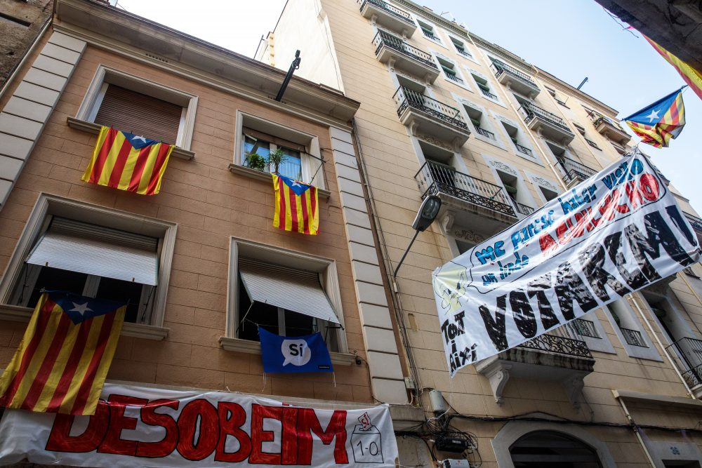 Catalan independence flags and pro-independence banners hang from buildings on Oct. 20, 2017, in Barcelona, Spain. (Jack Taylor/Getty Images)