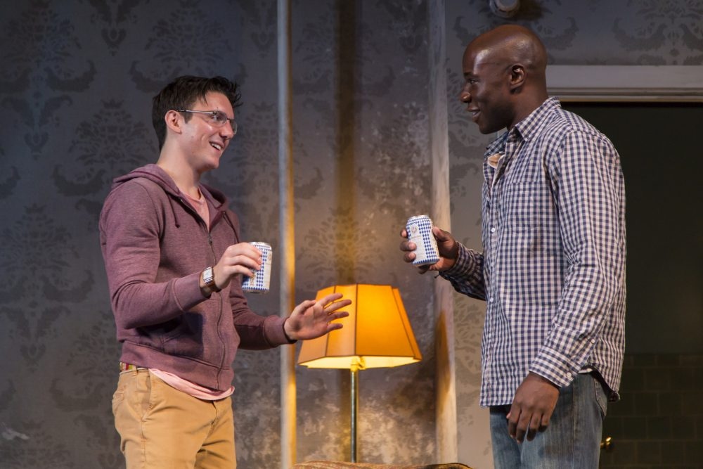 "Samuel H. Levine and McKinley Belcher III  in ""A Guide for the Homesick."" (Courtesy T. Charles Erickson/Huntington Theatre Company)"