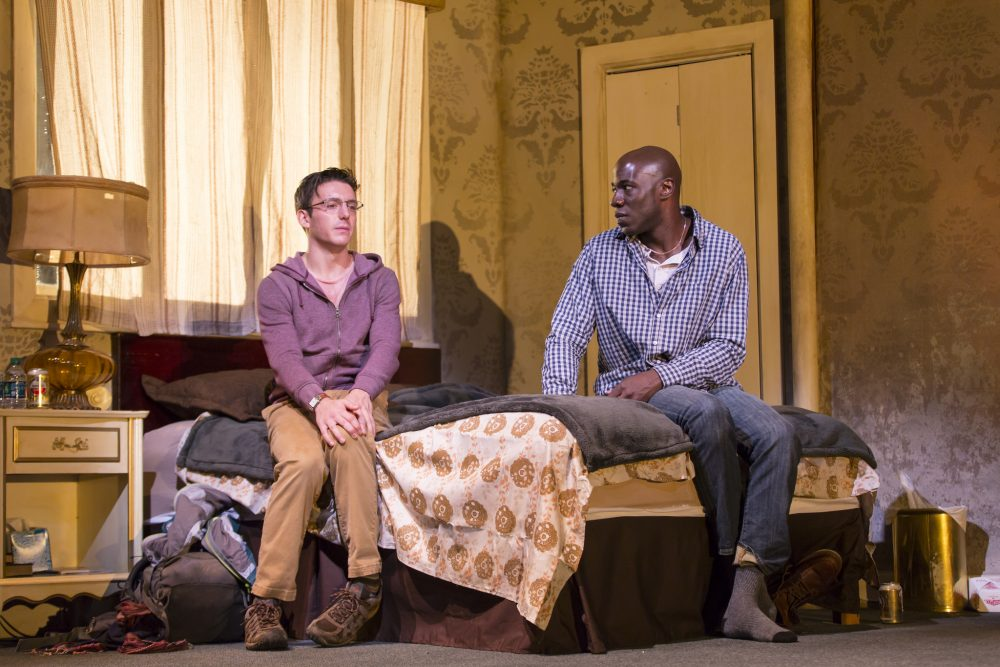 "Jeremy (Samuel H. Levine) and Teddy (McKinley Belcher III) in ""A Guide for the Homesick."" (Courtesy T. Charles Erickson/Huntington Theatre Company)"