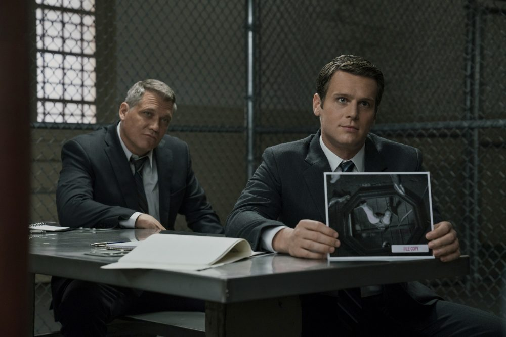 """Holt McCallany (left) and Jonathan Groff in a still from """"Mindhunter."""" (Patrick Harbron/Netflix)"""