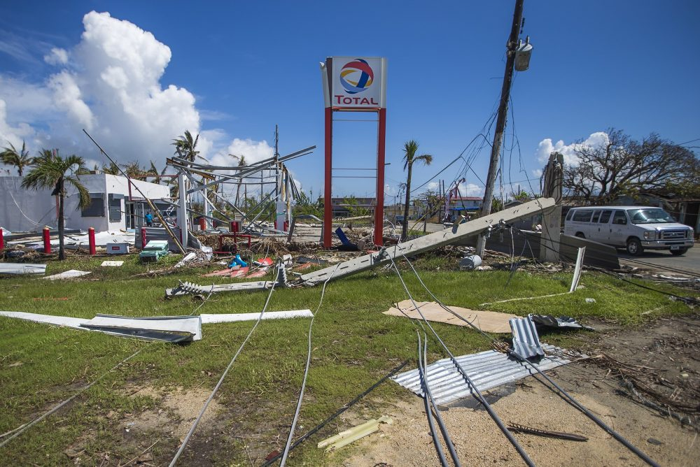 Hurricane Maria caused downed powerlines and demolished a Total gas station in Punta Santiago in Humacao. (Jesse Costa/WBUR)