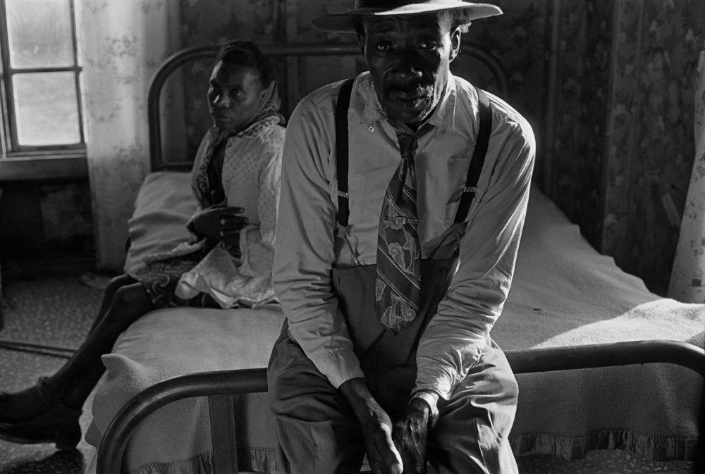 "Eugene Richards, ""Reverend and Mrs. Landers,"" Hughes, Arkansas, 1969. Gelatin silver print. (Courtesy Eugene Richards)"