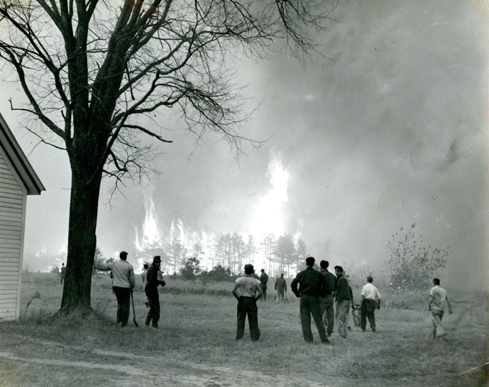 Wildfires erupt in York County, Maine in October 1947. (Courtesy of The Brick Store Museum)