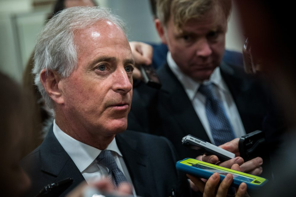 Sen. Bob Corker (R-Tenn.) talks with reporters as he heads to a vote on amendments to the fiscal year 2018 budget resolution, on Capitol Hill, Oct. 19, 2017 in Washington, D.C. (Drew Angerer/Getty Images)