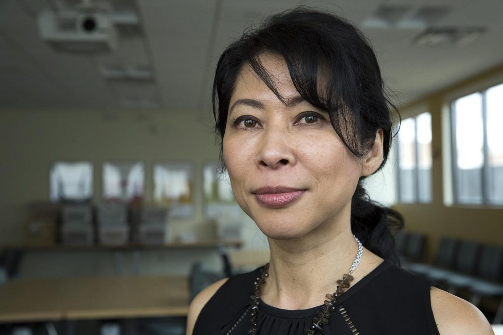 """Loung Ung, author of the memoir """"First They Killed My Father."""" (Robin Lubbock/WBUR)"""