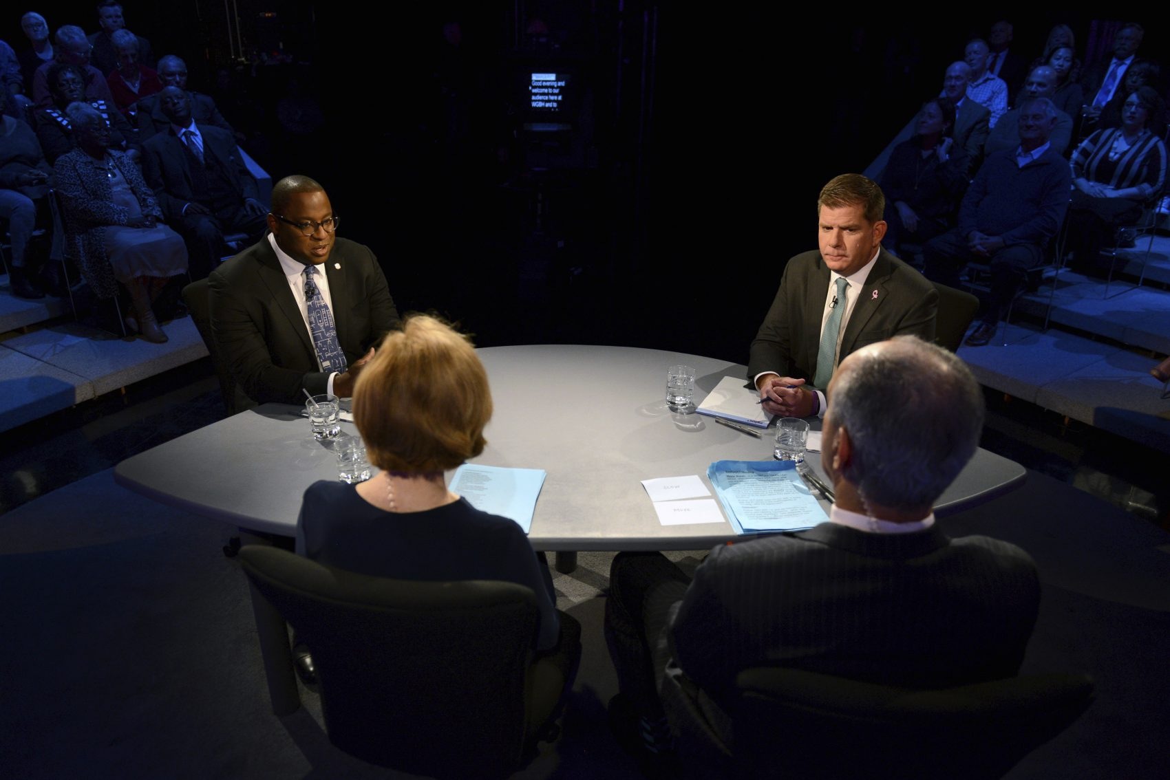 Boston Mayor Marty Walsh, top right, and City Councilor Tito Jackson, top left, participate in a mayoral debate in Boston, Tuesday, Oct. 24, 2017. (Meredith Nierman/WGBH News via AP, Pool)