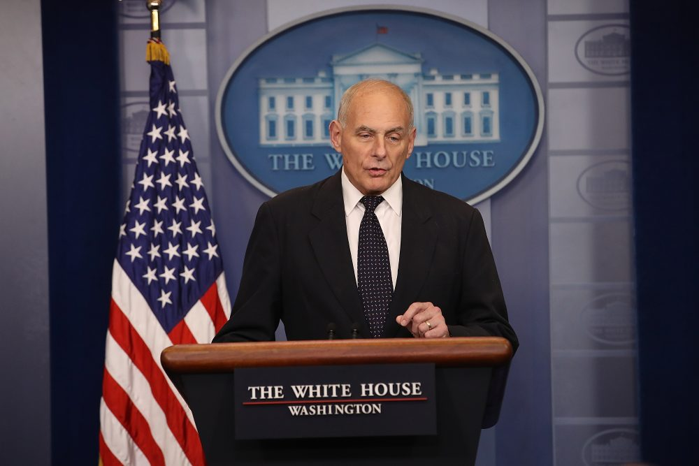 White House chief of staff John Kelly speaks during a White House briefing on Oct. 19, 2017 in Washington, D.C. Kelly spoke about the process of the military notifying family members of a death, his own son's death in Afghanistan and the controversy surrounding the news of President Trump's phone calls to Gold Star families. (Win McNamee/Getty Images)