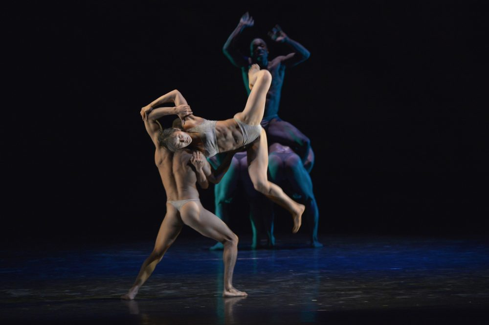 Two members of the Pilobolus dance company, which will be performing in Boston this weekend. (Courtesy Grant Halverson)
