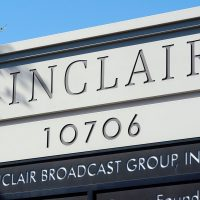 A sign for the Sinclair Broadcast building is seen in a business district in 2004 in Hunt Valley, Md. (William Thomas Cain/Getty Images)
