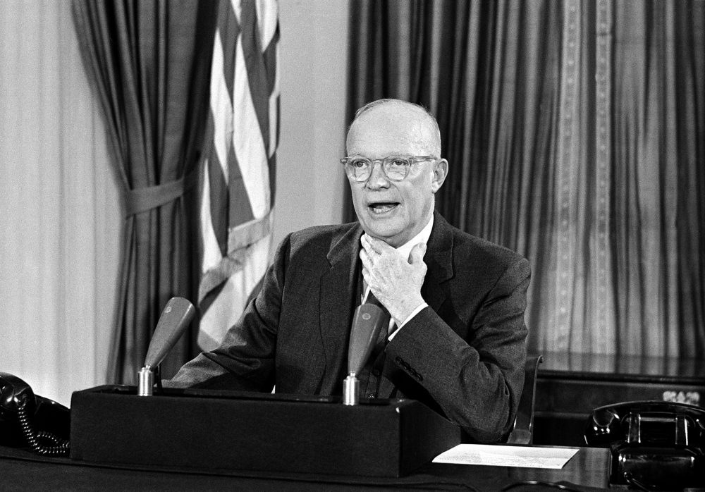 President Dwight Eisenhower makes his farewell address to the nation in a television-radio broadcast three days before the end of his term in Washington, D.C., Jan. 17, 1961. (AP Photo)