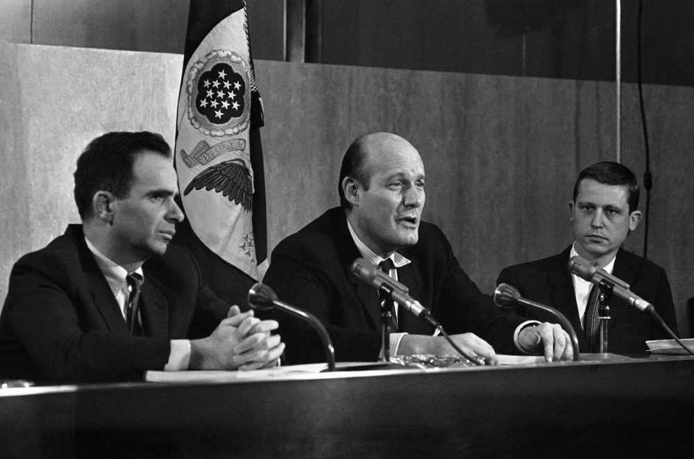Top officials of President Lyndon Johnson's newly-named Crime Commission announced goals for a crusade against lawlessness at a meeting on Feb. 16, 1967 in Washington.  From left are: Executive Director James Vorenberg; Chairman Nicholas Katzenbach and Assistant Director Henry Ruth. (John Rous/AP)