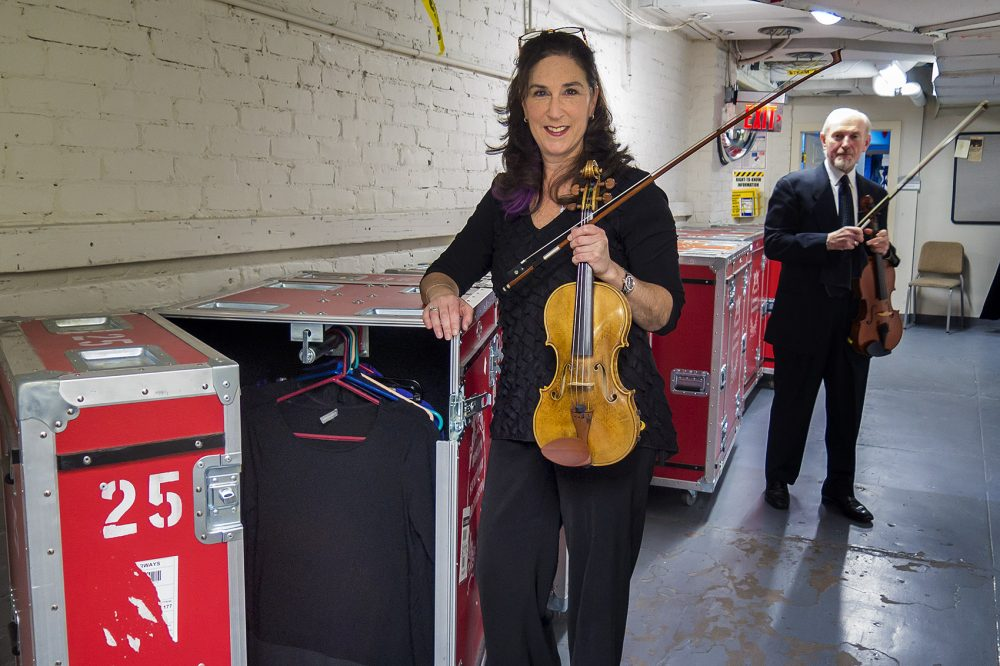 Violinist Bonnie Bewick and violist Michael Zaretsky before the BSO heads out on tour to Japan. (Andrea Shea/WBUR)