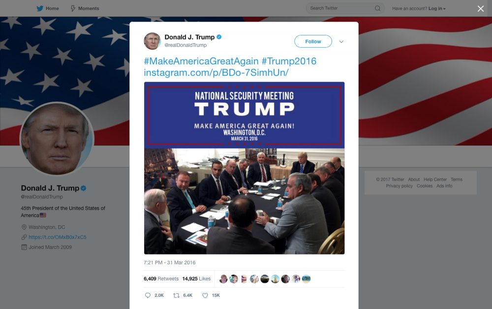 In this photo from President Trump's Twitter account, George Papadopoulos, third from left, sits at a table with then-candidate Trump and others at what is labeled at a national security meeting in Washington that was posted on March 31, 2016. Papadopoulos, a former Trump campaign aide belittled by the White House as a low-level volunteer was thrust on Oct. 30, 2017, to the center of special counsel Robert Mueller's investigation, providing evidence in the first criminal case that connects Trump's team and intermediaries for Russia seeking to interfere in the campaign. (Donald Trump's Twitter account via AP)