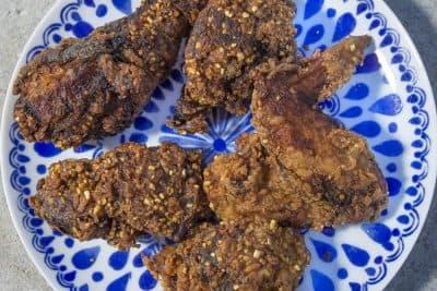 Kathy's fried chicken. (Jesse Costa/WBUR)