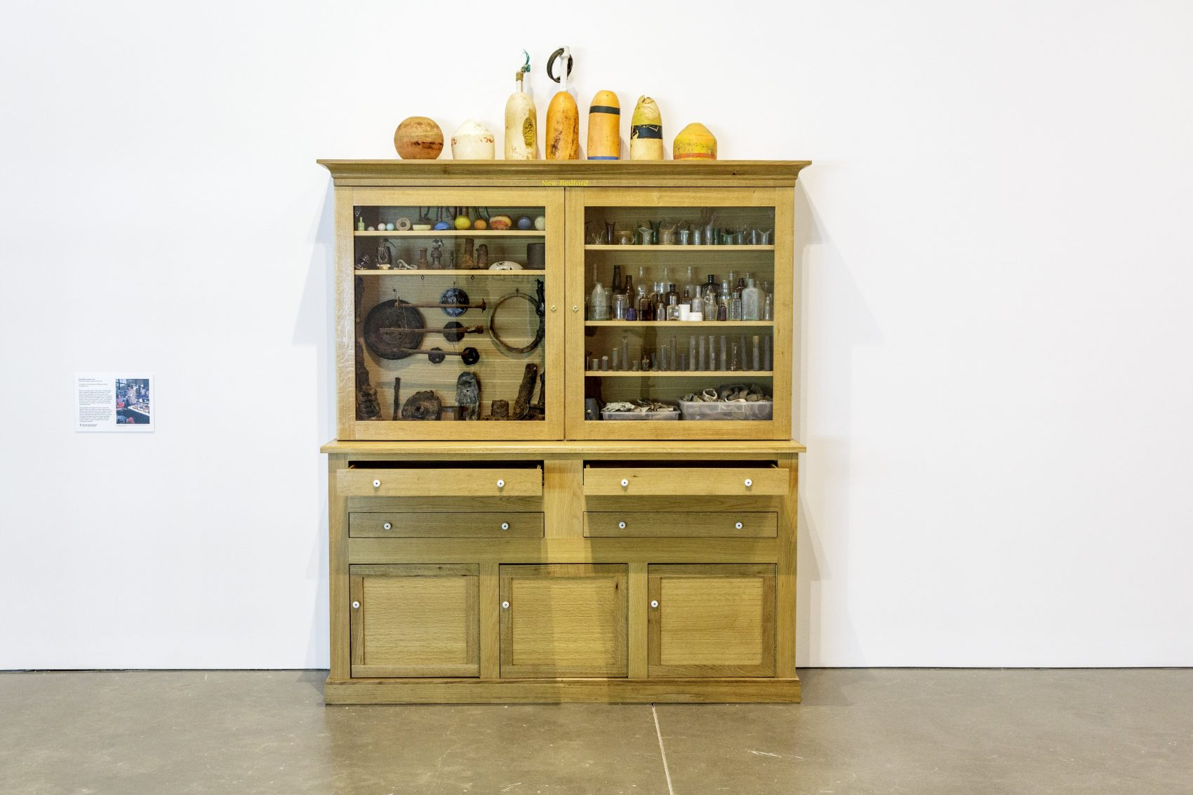Mark Dion, New Bedford Cabinet, 2001. Wooden-and-glass cabinet and dig finds, 104 × 74 × 19 inches (264.2 × 188 × 48.3 cm). The Institute of Contemporary Art/Boston, General Acquisition Fund. Courtesy the artist and Tanya Bonakdar Gallery, New York. Photo by John Kennard. © Mark Dion