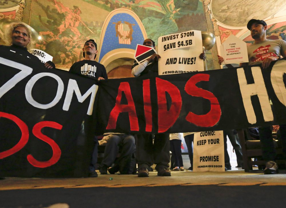 AIDS activists rally in the War Room at the Capitol in Albany, N.Y. on March 28, 2016. They were pushing for an increase in AIDS funding as New York Gov. Andrew Cuomo and legislators negotiated the state budget. (Mike Groll/AP)