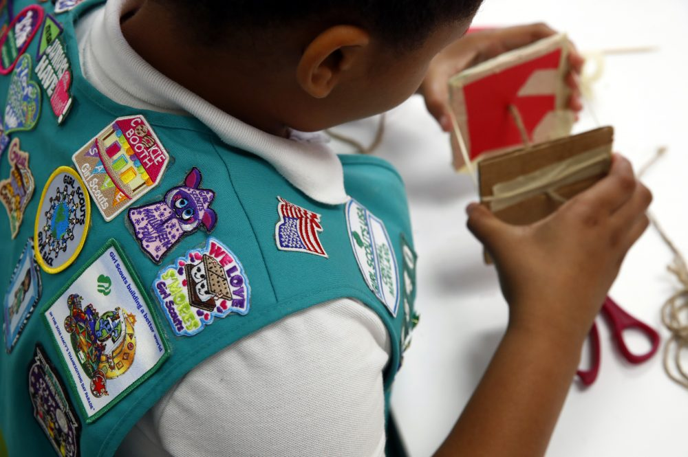In this July 21, 2017 photo, badges are seen on the vest of a member of the Girl Scouts in Owings Mills, Md. (Patrick Semansky/AP)