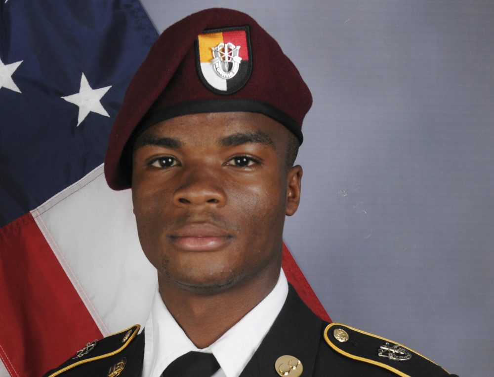 """This photo provided by the U.S. Army Special Operations Command shows Sgt. La David Johnson, who was killed in an ambush in Niger. President Donald Trump told Johnson's widow, Myeshia Johnson, that her husband """"knew what he signed up for,"""" according to Rep. Frederica Wilson, who said she heard part of the conversation on speakerphone. (U.S. Army Special Operations Command via AP)"""