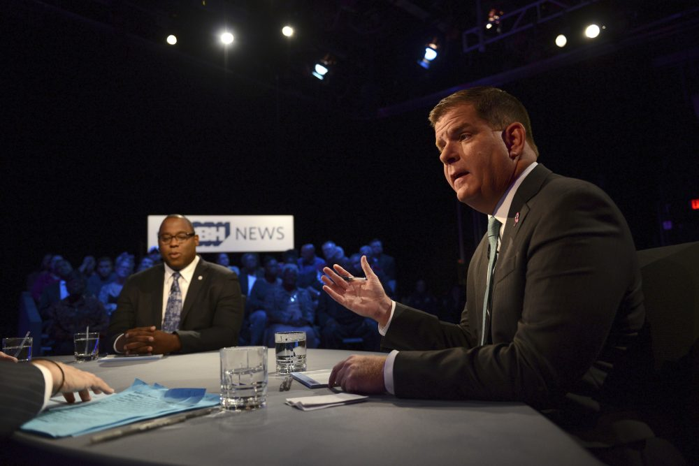 Boston Mayor Marty Walsh, right, and City Councilor Tito Jackson participate in a mayoral debate at the WGBH Studios in Boston, Tuesday, Oct. 24, 2017. (Meredith Nierman/WGBH News via AP, Pool)