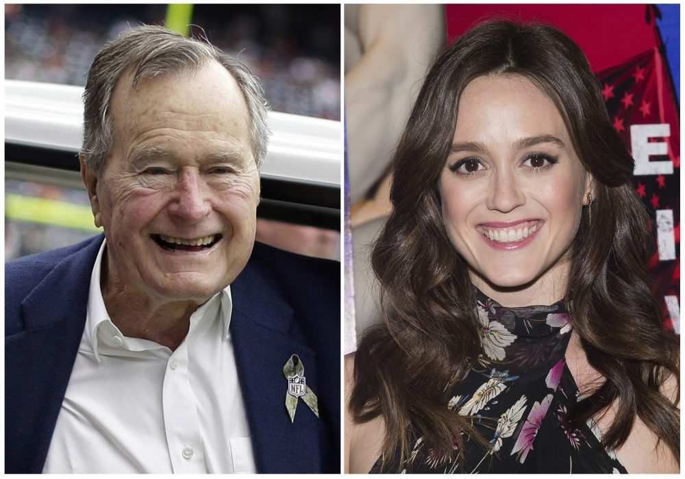Former president George H.W. Bush at an NFL football game Nov. 4, 2012, left, and actress Heather Lind at a premiere event in New York April 20, 2016. Lind accused Bush of touching her from and telling her a dirty joke in 2014. The former president's office apologized Wednesday and offered an explanation. (AP)