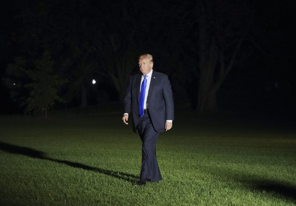 "GOP senator Bob Corker called Donald Trump ""utterly untruthful"" while GOP senator Jeff Flake wrote an op-ed ripping into the president: ""Nine months is more than enough for us to say, loudly and clearly: Enough."" Pictured: President Donald Trump walks across the South Lawn of the White House in Washington, Wednesday, Oct. 25, 2017, following his return on Marine One helicopter from nearby Andrews Air Force Base, Md. (Pablo Martinez Monsivais/AP)"