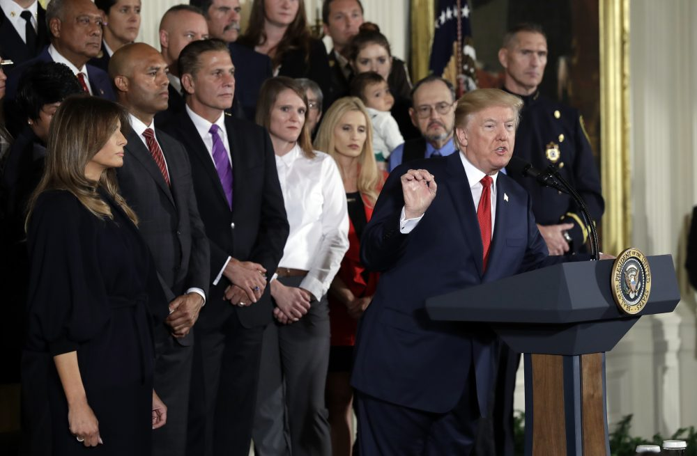 President Trump speaks during an event to declare the opioid crisis a national public health emergency Thursday. (Evan Vucci/AP)
