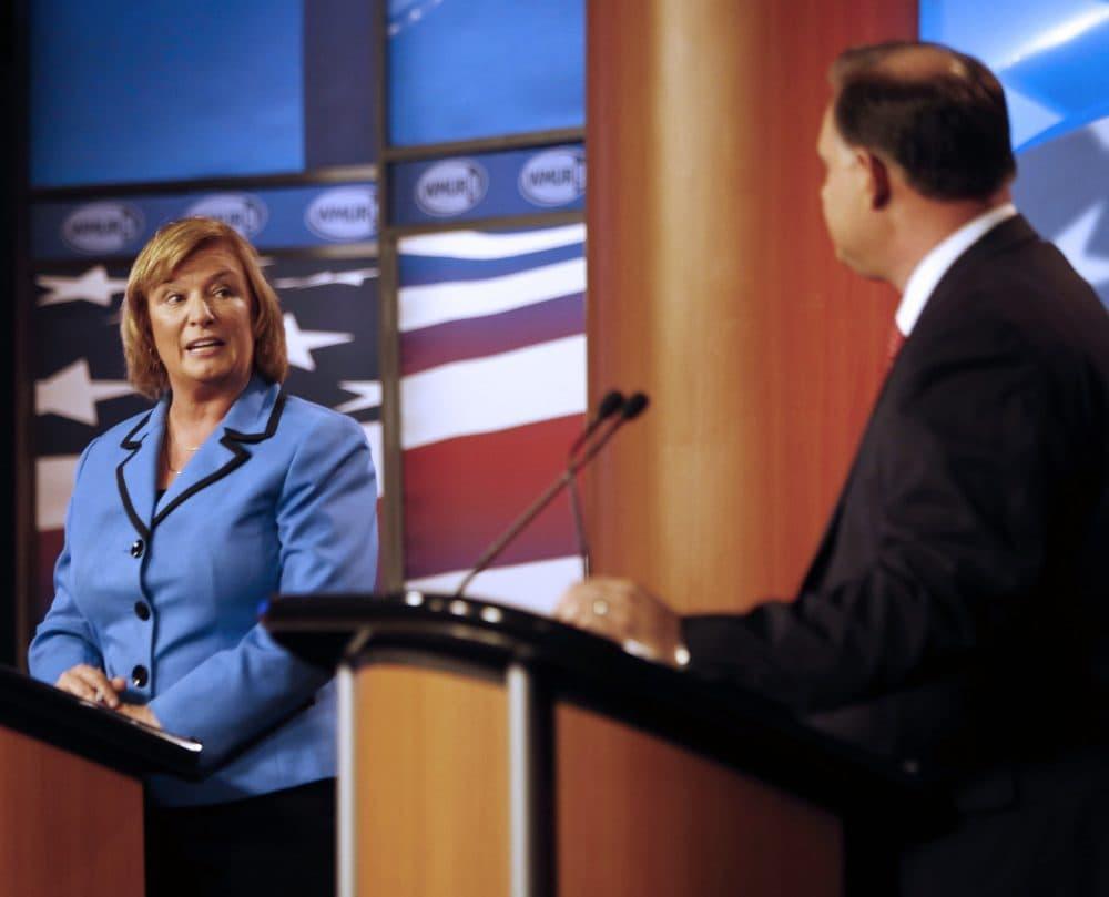 U.S. Rep. Carol Shea-Porter D-N.H., questions her opponent, former Republican U.S. Rep. Frank Guinta, during a 2014 debate. (Jim Cole/AP)