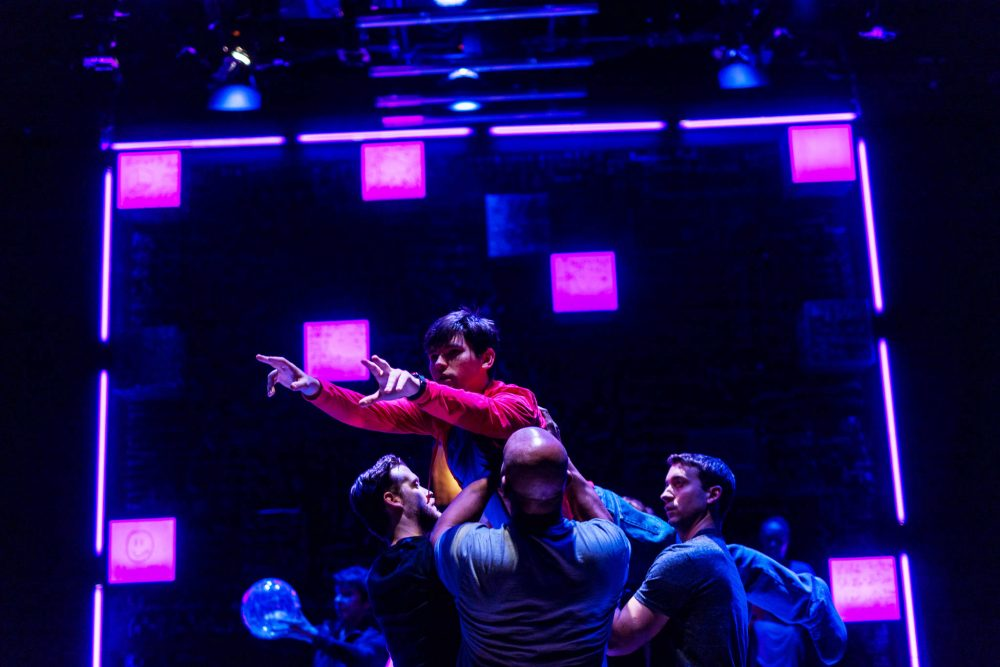 "Eliott Purcell and the ensemble of ""The Curious Incident of the Dog in the Night-Time."" (Courtesy Nile Scott/SpeakEasy Stage Company)"