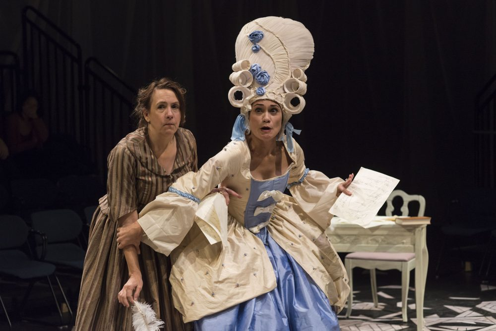 "Lee Mikeska Gardner as Olympe de Gouges with Celeste Oliva as Marie Antoinette in ""The Revolutionists."" (Courtesy A.R. Sinclair Photography)"
