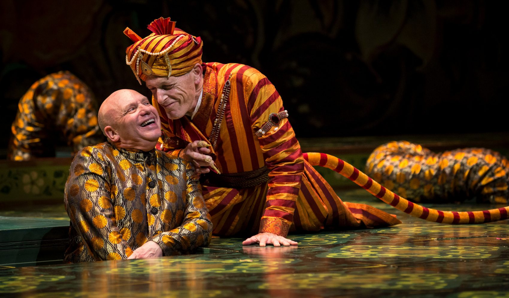 "Thomas Derrah (left) as Kaa, the python, in the Huntington Theatre Company's 2013 production of ""The Jungle Book."" (Courtesy of Liz Lauren)"