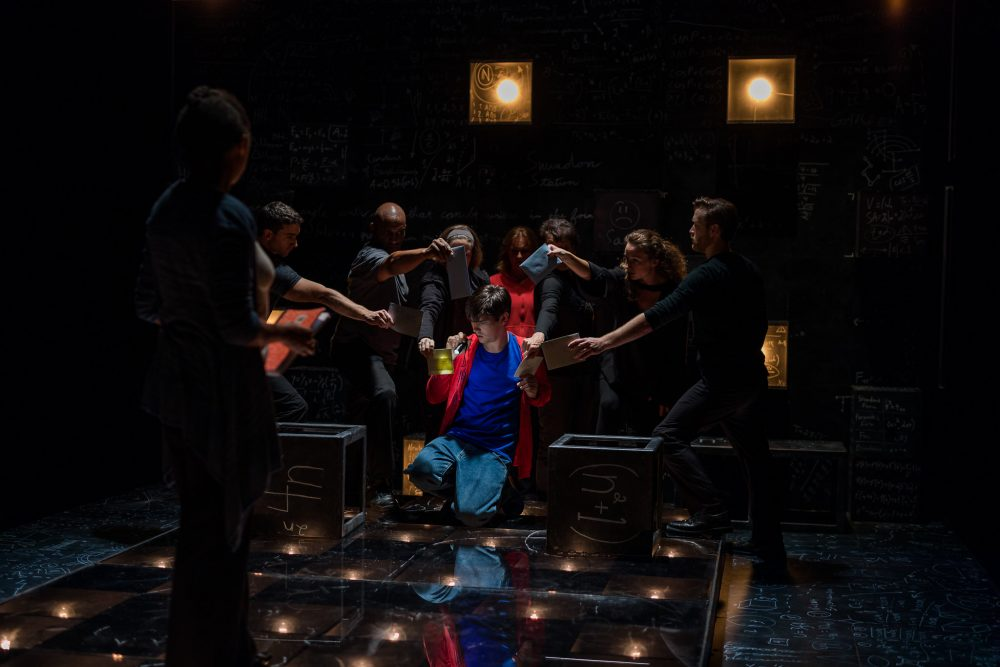 "The ensemble in a scene from ""The Curious Incident of the Dog in the Night-Time"" at SpeakEasy Stage. (Courtesy Nile Scott/SpeakEasy Stage Company)"
