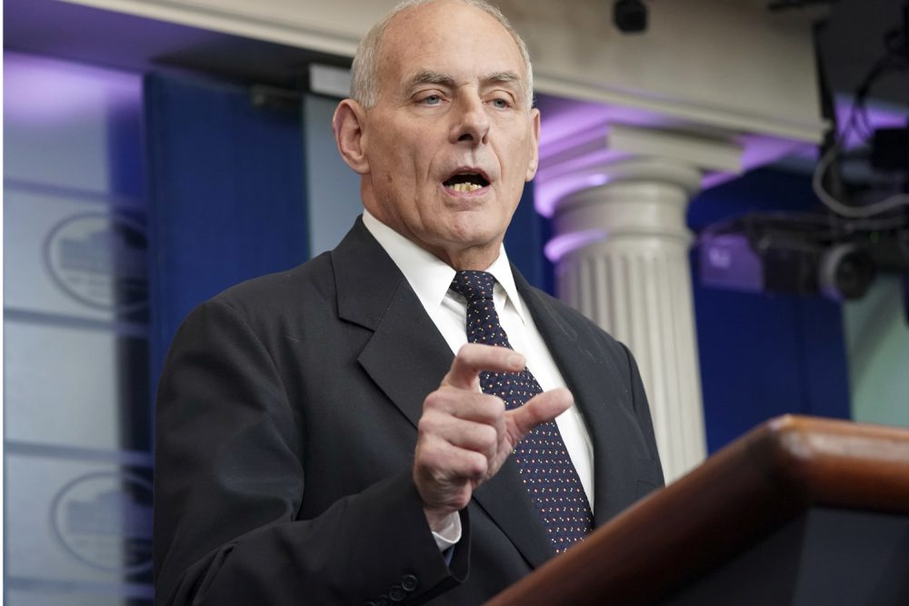 White House Chief of Staff John Kelly speaks to the media Thursday. (Pablo Martinez Monsivais/AP)