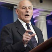 White House Chief of Staff John Kelly speaks to the media Thursday. (Pablo Martinez Monsivais/AP)