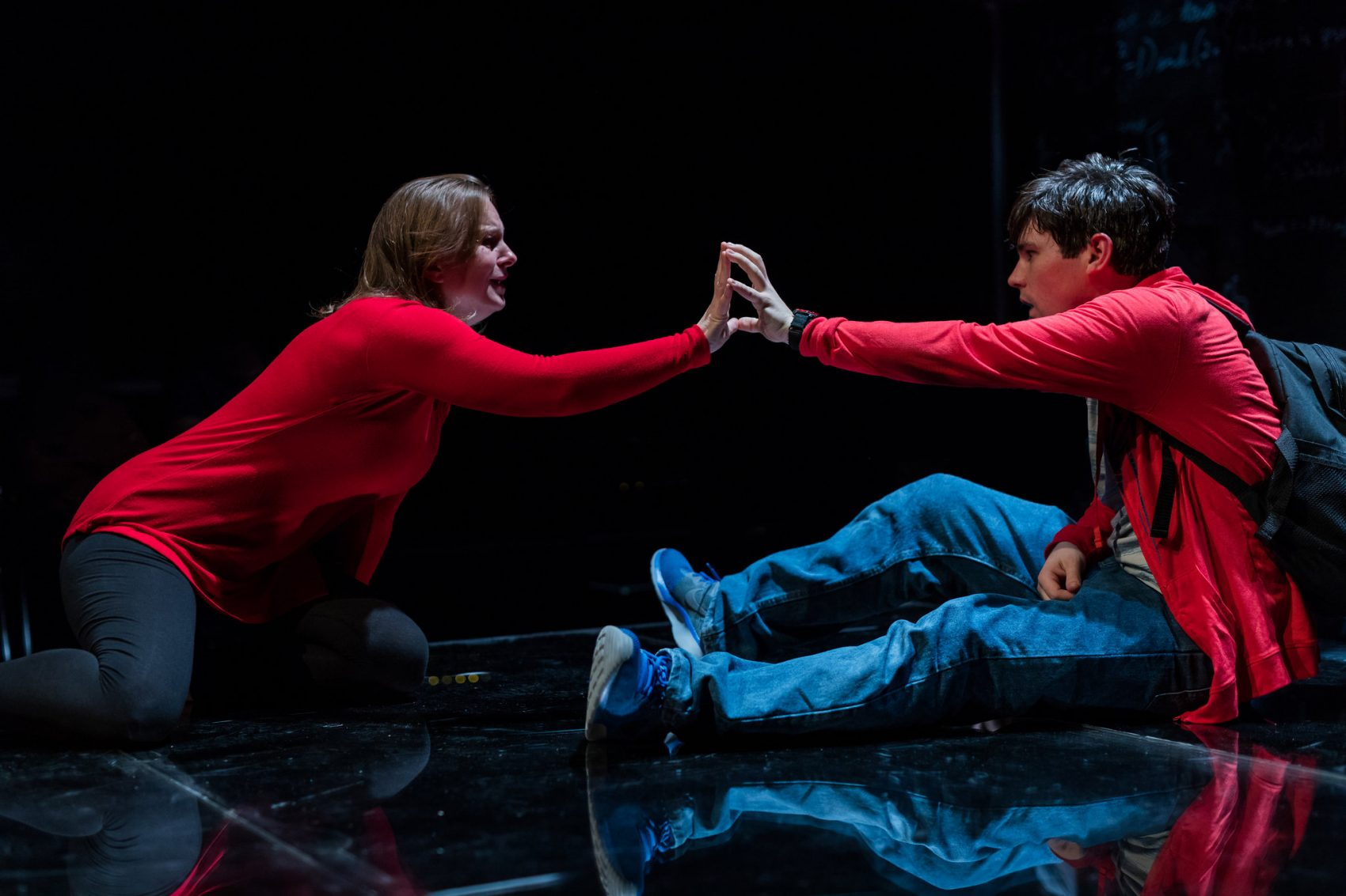 "Laura Latreille and Eliott Purcell in SpeakEasy's ""Curious Incident."" (Courtesy Nile Scott/SpeakEasy Stage Company)"