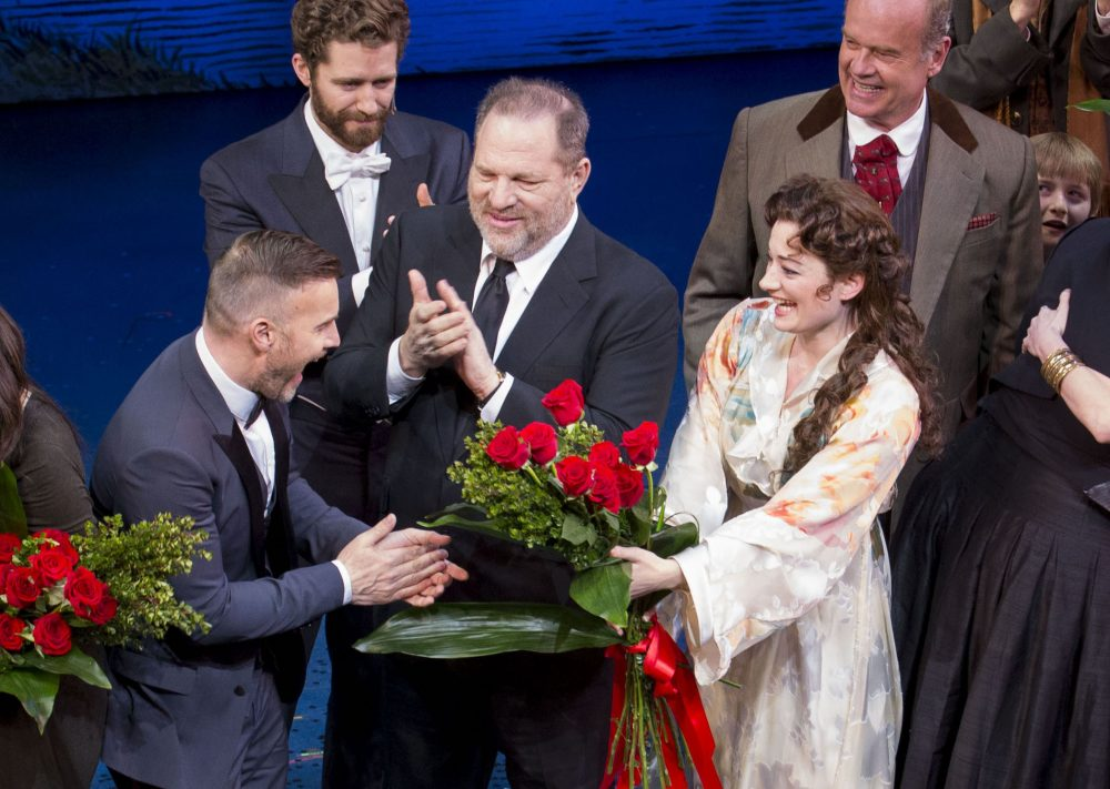 "Harvey Weinstein (center) and the cast of ""Finding Neverland"" iat the Broadway opening in April, 2015. (Greg Allen/Invision/AP)"