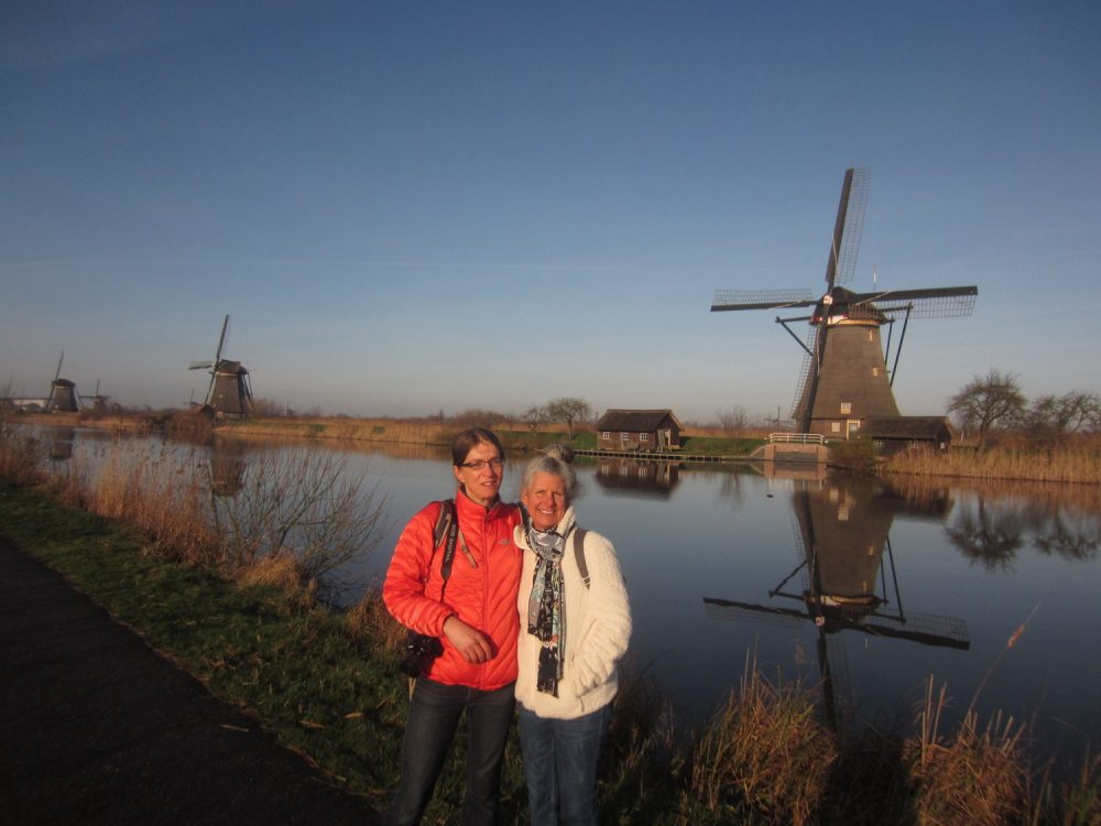 Selina (left) and Diane at Kinderdijk, the Netherlands in 2016 (Photo by Erik Gundersen)