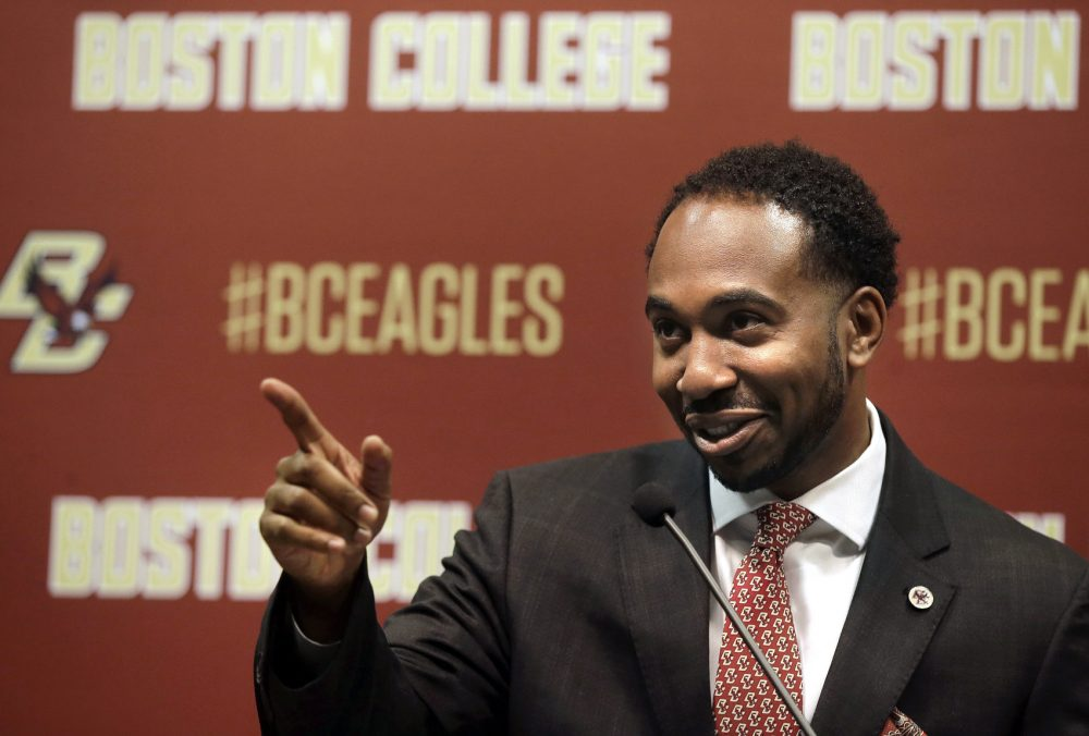 Martin Jarmond, newly hired Boston College athletic director, takes questions from members of the media Monday, April 24, 2017, during a news conference on the school's campus in Boston. Jarmond was the deputy athletic director at Ohio State and chief of staff for Buckeyes athletic director Gene Smith. (AP Photo/Steven Senne)