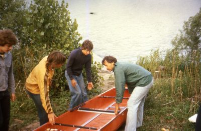 From left to right: Jeff, Dana and Don prepare to launch the canoe at the start of the trip. (Courtesy Chris Forde)