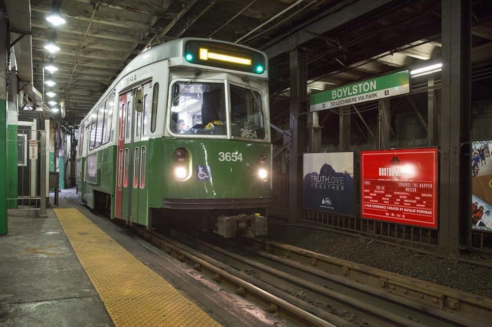 The MBTA Green Line train coming into Boylston Station. (Robin Lubbock/WBUR)