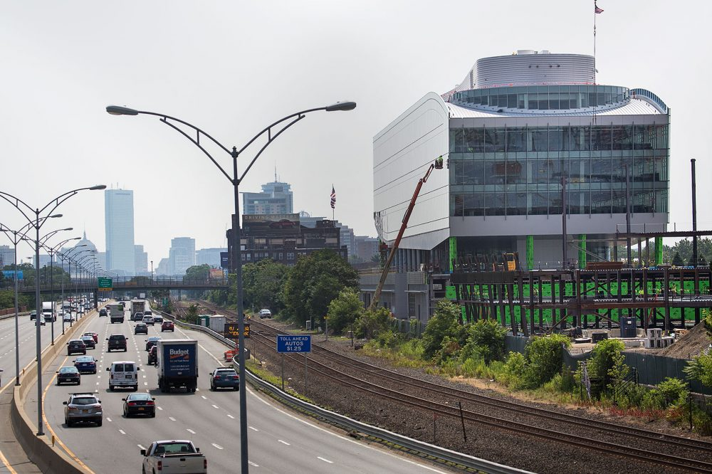 The New Balance building at Boston Landing is seen in Jun 2015. (Jesse Costa/WBUR)