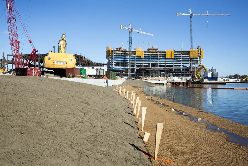 The shore of the Mystic River under rehabilitation at the Wynn construction site. (Robin Lubbock/WBUR)