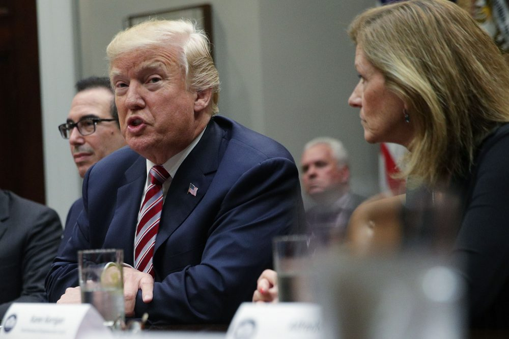 President Trump speaks to business leaders during a Roosevelt Room event Oct. 31, 2017 at the White House in Washington, D.C. (Alex Wong/Getty Images)